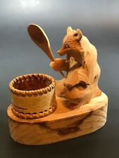 Vintage Russian Hand Carved Wood Bear With Spoon And Basket  Folk Art