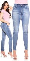 Jeans donna blu taglie forti curvy farfalle di strass&perle tg 44,46,48,50,52,54
