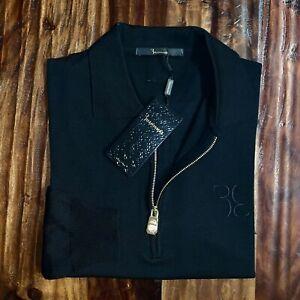 New Billionaire Couture Black 1/4 Zip Extrafine Wool Sweater Jacket L $795!