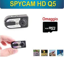 MINI TELECAMERA DIGITALE SPYCAM HD Q5 1200MPX SOFTAIR AUTO MOTO CASCO SPIA SD