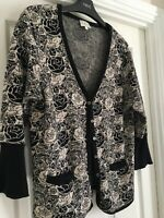 EAST Cotton Knit Floral Cardigan - Size M to fit 14 - ex cond