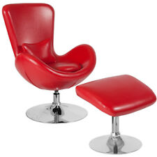 Contemporary Retro Red Leathersoft Egg Swivel Reception Chair with Ottoman