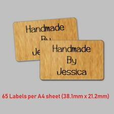 65 Handmade By Personalised Kraft Effect Labels Stickers Craft