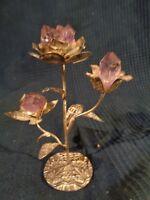 Fiore IN Metallo Ametista E Cura Natura Naturale Litoterapia Antico