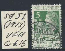 SWITZERLAND - 1913  PRO JUVENTUS  5c  'GREEN'  SG J1  VFU Cv £20  [8666]*