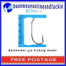 100 x Size 4/0 Bait Holder Hooks Saltwater Freshwater Fishing Tackle Bulk