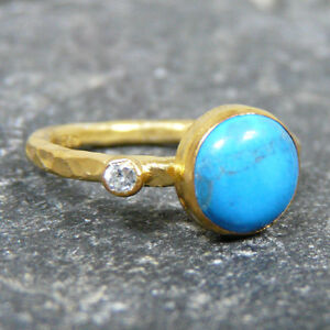 Handmade Hammered Turquoise And Topaz Ring Yellow Gold over 925K Sterling Silver