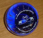 Caithness Glass Royal Wedding commemorative paperweight in Royal Blue