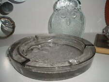 """MID CENTURY BLENKO THICK GLASS OWL ASHTRAY 10"""" BEAUTIFUL SCULPTED GLASS"""