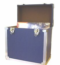 "Steepletone SRB-2 LP Vinyl Retro Style LP Storage Case Holds 50 12""LPs  - BLUE"