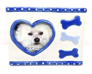 Dog Heart Frame,Ceramic,Blue Heart & Bones