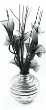 Silver Vase With Black And White Nylon Artificial Flowers In Vase Fake Flowers