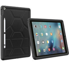 Poetic Turtle Skin Grip Bumper Case with Pencil Holder for iPad Pro 12.9 Black