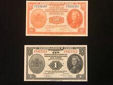 NETHERLANDS INDIES  WW2 1943  war time 50 cent & 1 Gulden Paper Money Note Nice
