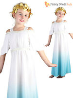 Age 4-11 Girls Greek Goddess Costume Roman Toga Outfit Child Kids Fancy Dress