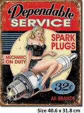 Dependable Service Spark Plugs 32 Cents Tin Sign 1991 Made in USA
