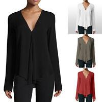 Women Fashion V Neck Long Sleeve Long Chiffon Blouse Shirt Lady Top T-Shirt