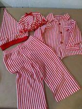 Vintage Handmade Christmas Kids Pajamas, red stripe,