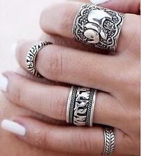 4PCS Silver Punk Vintage Elephant Ring  Women Retro Finger Rings Boho Style ^^