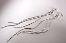 Triple 3 Inch Long Chain Stud Earrings 925 Sterling Silver Corona Sun Jewelry