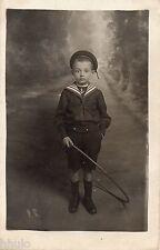 BL027 Carte Photo vintage card RPPC Enfant mode fashion cerceau marin costume