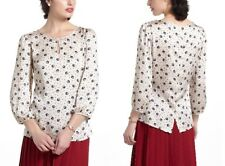 Anthropologie Hi There Owl Print Button-Back Merryisms Peasant Blouse Top XS 2