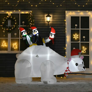 1.5m Christmas Inflatable Polar Bear Penguin Lighted for Home Indoor Outdoor