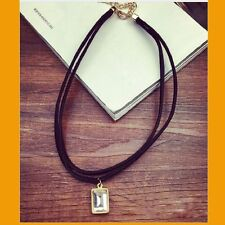 Chain Square Double Layer Hot Black Hot Sale Crystal Pendant Choker Necklace