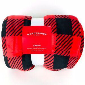 Wondershop Red Black Plaid Plush Reversible Sherpa Throw