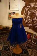 MayQueen blue polyester clubwear corset knee-length strapless dress size 16