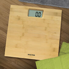 Salter Bamboo Wood Digital Bathroom Scales - Natural Wooden Weighing Scale NEW