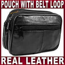 Soft Black LEATHER BELT PURSE pouch 3 zips camera phone coin holder money travel