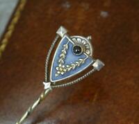 Heinrich Levinger Art Nouveau German Solid Silver Enamel Sapphire Stick Tie Pin