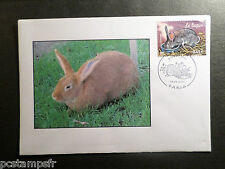 FDC FRANCE LAPIN III, TP 3662 ANIMAUX FERME 1° jour  2004, VF RABBITS STAMP