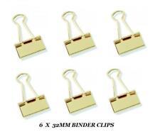 Pack of 6 GOLD FINISH COLOUR FOLDBACK FOLD BACK BINDER BULLDOG CLIPS 32mm