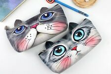 Girls Cute Animal Kitten Cat PU Leather Pencil Case Cosmetic Make Up Bag Pen