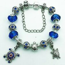 STUNNING BLUE & SILVER PLATED MURANO GLASS BEAD BRACELET 20CM TURTLE CHARMS