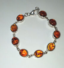 Ladies Sterling Silver Amber Stone Bracelet