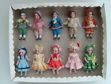 10 antiguedad porcelana muñecas en su caja original