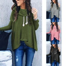 New Women Girl Turtle Neck Long Sleeve Oversized Sweatshirt Pullover Jumper Tops