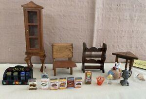 Vintage Shackman Lot of Dollhouse Furniture & Miniatures School Desk Chair