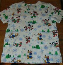 Disney Women Scrub Top Christmas Mickey Mouse Minnie Mouse Pluto Winter Sz M