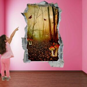 Fairy Forest Red Mushrooms Fantasy Wall Sticker Mural Decal Kids Room Decor A10