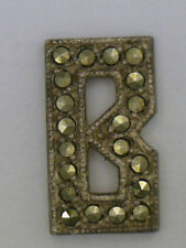 """NOS Antique Vintage Sterling Silver Marcasite Initial Letter """"B""""  Jewelry Design"""