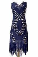 Blue Vintage 1920s Flapper Gatsby Downton Abbey Fringe Beaded Dress Size 8-24