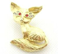VINTAGE 1980s FOX FIGURAL BROOCH PIN SHINY GOLD TONE RED & CLEAR RHINESTONES