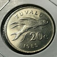 1985 TUVALU 20 CENTS FLYING FISH BRILLIANT UNCIRCULATED SCARCE COIN