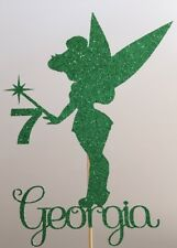 Personalised Birthday Cake Topper Pretty Tinkerbell Fairy Wand Any Name Age