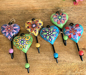 Hand Painted Ceramic Heart Flower Door/Wall Hooks 7x13x3cm Buy 2 or More 20% OFF