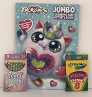 RainBoCorns Sequin Surprise Jumbo Coloring & Activity Book Neon & Pearl Crayons